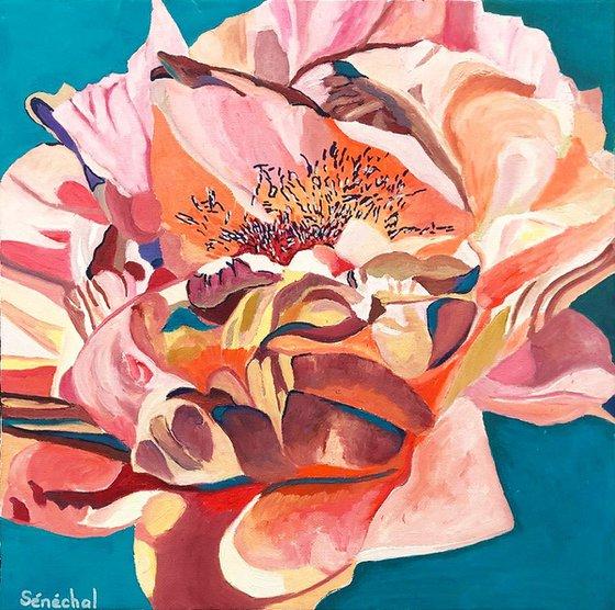 Fleur rose et turquoise