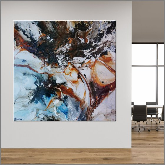 Gamma Oxide 120cm x 120cm Oxide White Textured Abstract Art