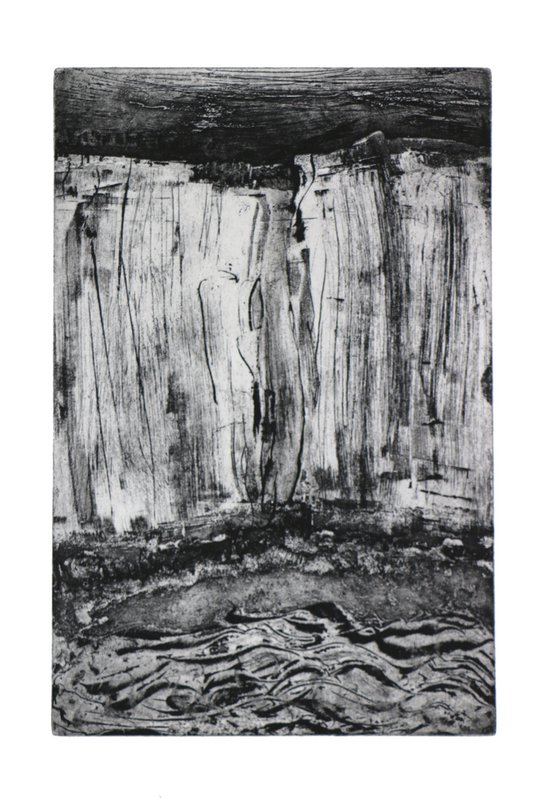 """Heike Roesel """"Sea, Beach, Cliffs"""" fine art etching in edition of 10"""