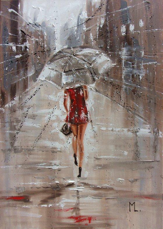 """ JULY RAIN ""   street spring summer original painting CITY palette knife GIFT"