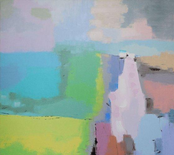 Watermill - palette knife impasto painting impressionistic alla prima original artwork horizontal