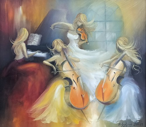 Female quartet (70x80cm,   oil painting, ready to hang)