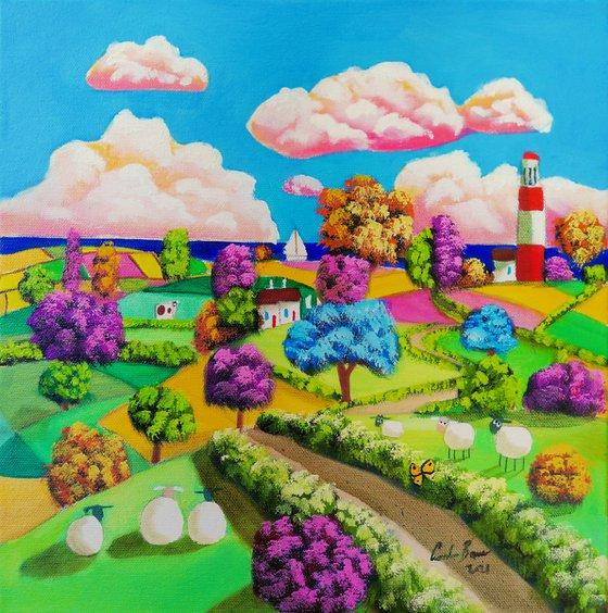 Folk art sheep and a Lighthouse painting
