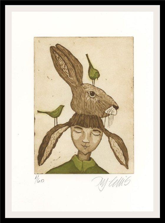 Bunny Girl, aquatint etching