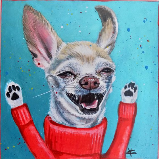 Fun Chihuahua painting called 'The Happy Dog Dance'