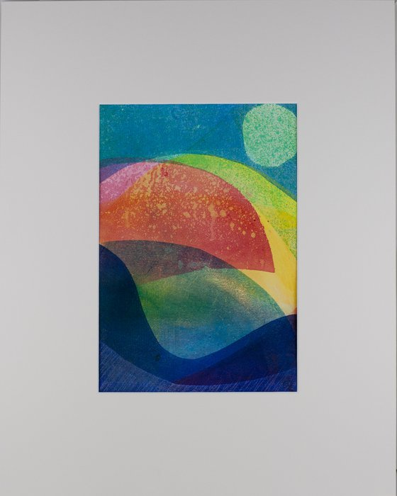 """Sun Shower - Mounted and Backed 50cm (20"""") x 40 cm (16"""") Original Signed Monotype"""