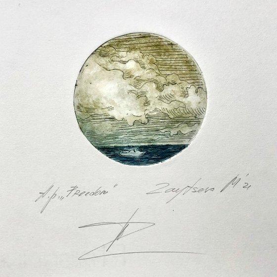 FREEDOM-III/ etching / energy printing. D⌀ 10сm/ brass board