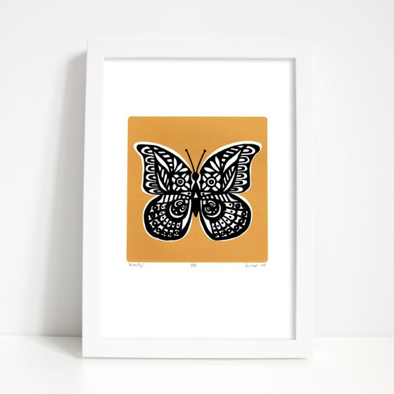 Butterfly in Saffron Yellow - Framed - FREE UK Delivery