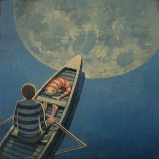 Fish and loon over the moon (study)