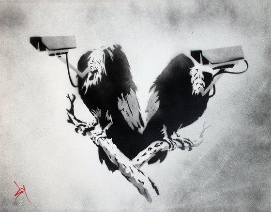 Vulture surveillance (on canvas).