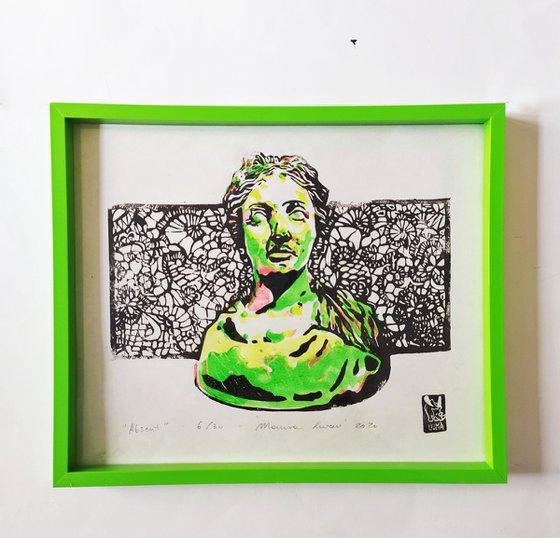 "LINOCUT PRINT- artistic print-illustration ""Absent"""