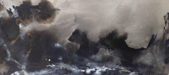 Heavy storm over rocks
