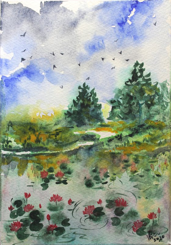 Monet's garden of Lotus in Watercolours - Impressionistic - gift art - mini art - Lotus pond landscape