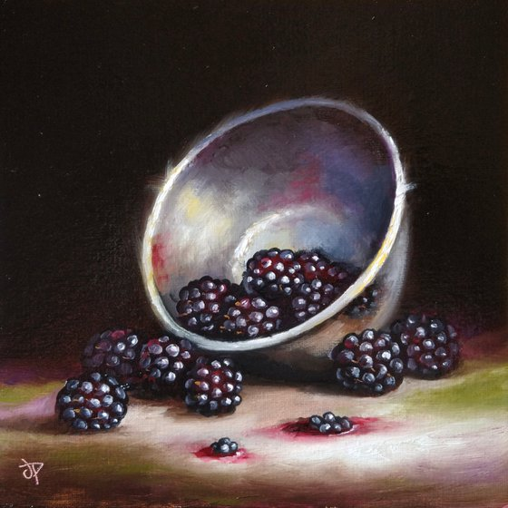 Bowl with Blackberries still life