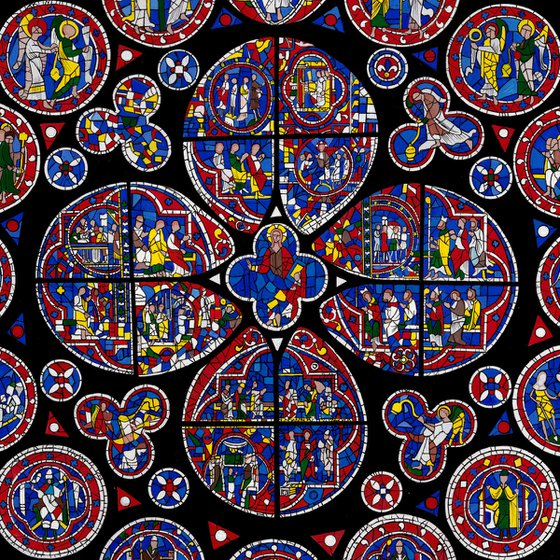 Lincoln Cathedral North Rose Window - Framed Acrylic Gouache Painting