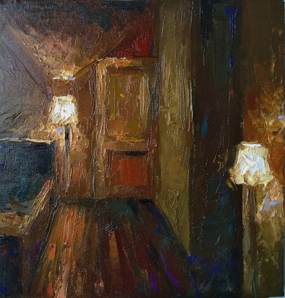 Room of lights (25x26cm, oil painting, ready to hang)