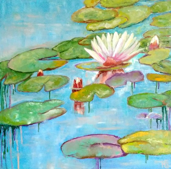 Nympheas 2, Nympheas Water Lily Painting Original Art Lotus Floral Wall Art Monet Pond Landscape, 50x50 cm, ready to hang.