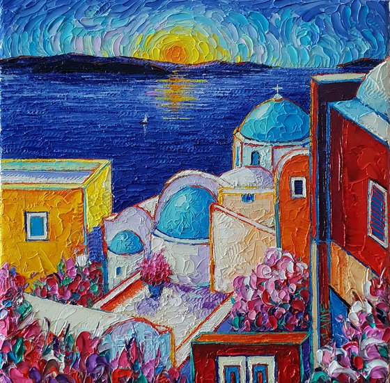 SANTORINI OIA COLORS AT SUNRISE textural impasto palette knife oil painting on 3D Canvas painting continues on the edges sides of the canvas by Ana Maria Edulescu