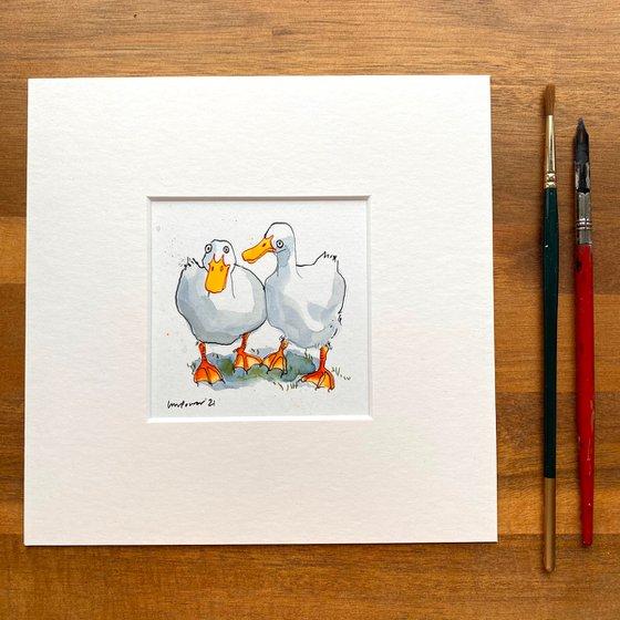 ' Duck Besties #01' - mini painting of two white ducks