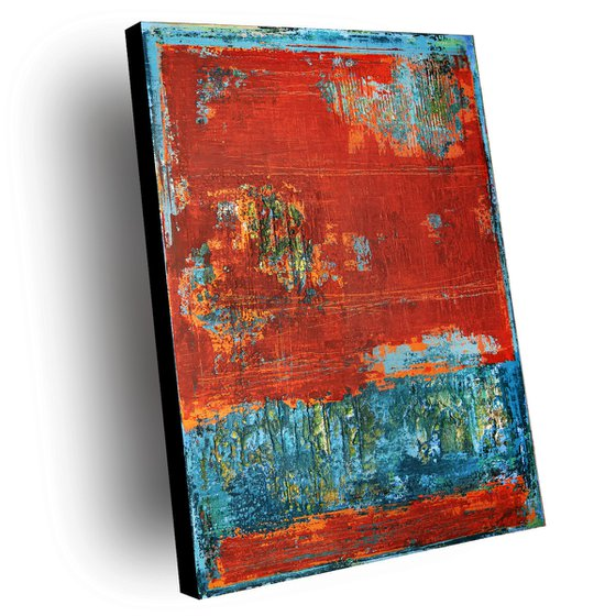 RED WALL - 120 X 80 CMS - ABSTRACT ACRYLIC PAINTING TEXTURED * RED * TURQUOISE