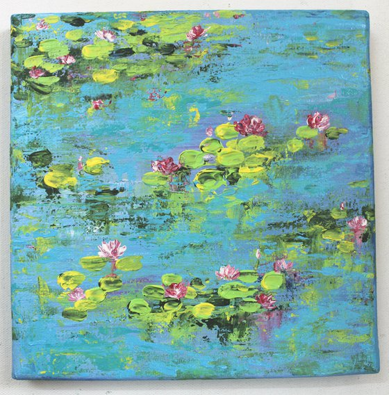 Lily Pond 2 - Claude Monet inspired Landscape painting - impasto - impressionistic art - palette knife acrylic painting - ready to hang