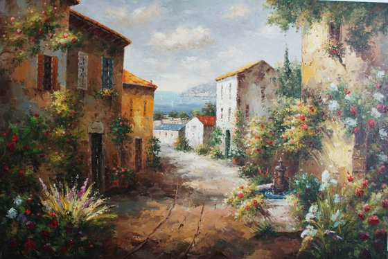 """""""On the streets of Italy."""" Canvas, oil. Size 90x60 cm"""