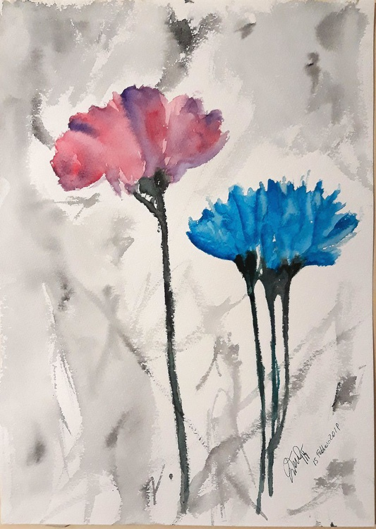 Fiori Watercolor.Fiori Astratti 2019 Watercolour By Regina Artfinder