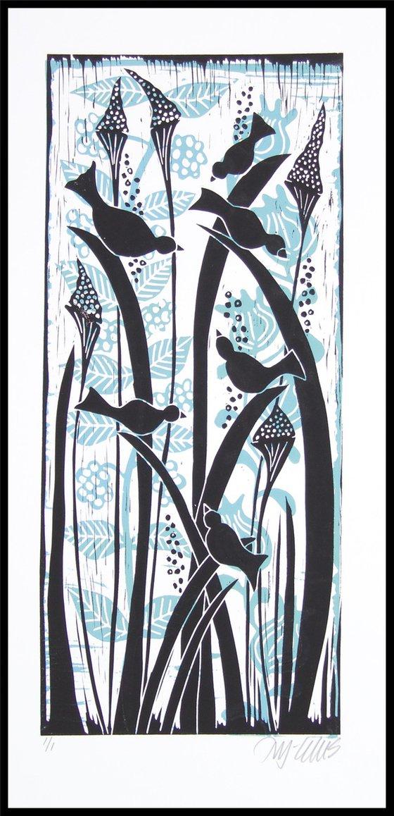 Birds in marshgrass, linocut, 2 layers