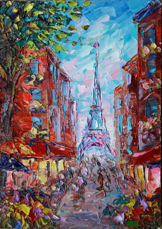 Paris Painting, Eiffel Tower Painting, Original Art Impasto Painting, Impasto Paris Art Paris Cafe painting Cityscape Painting Room Wall Art