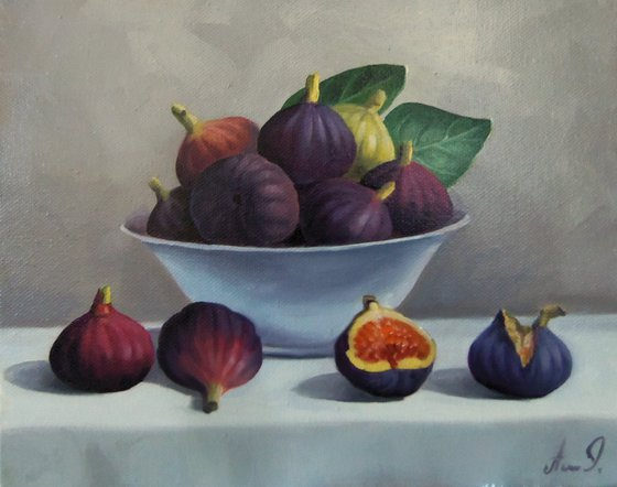 Still life with fig (24x30cm, oil painting, ready to hang)