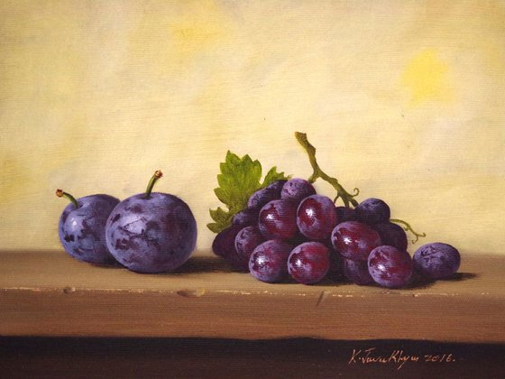 Still Life with Grapes and Plums,Original oil Painting, Classic Art, Handmade painting, signed