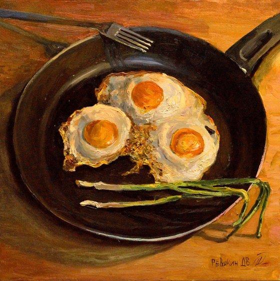 Fried eggs. Modern oil painting