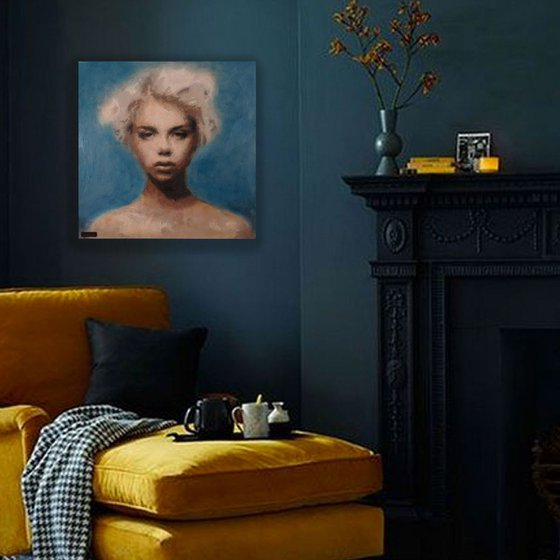 40cm x 40cm Contemporary Portrait #0218-1