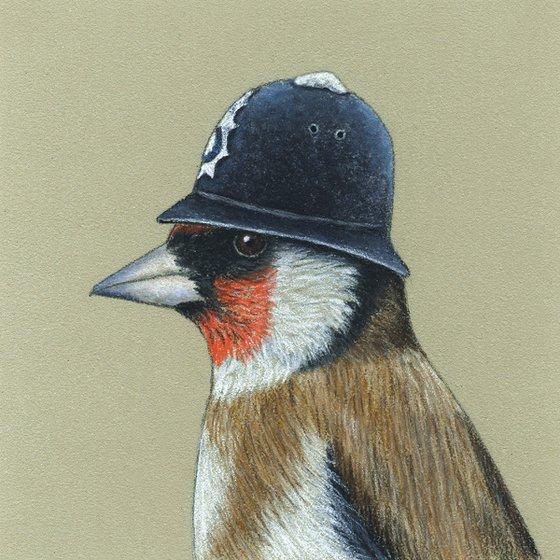 "Original pastel drawing bird ""European goldfinch"""