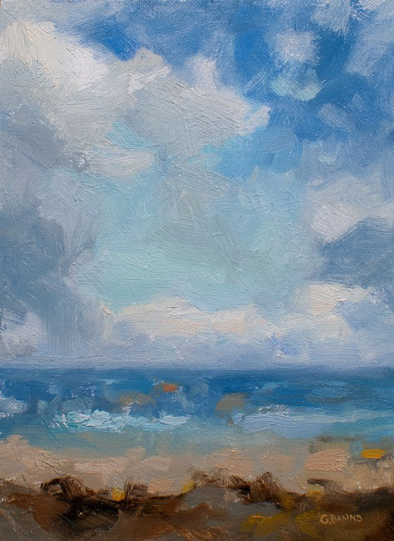At the beach, ocean sky (off the coast of Brittany)
