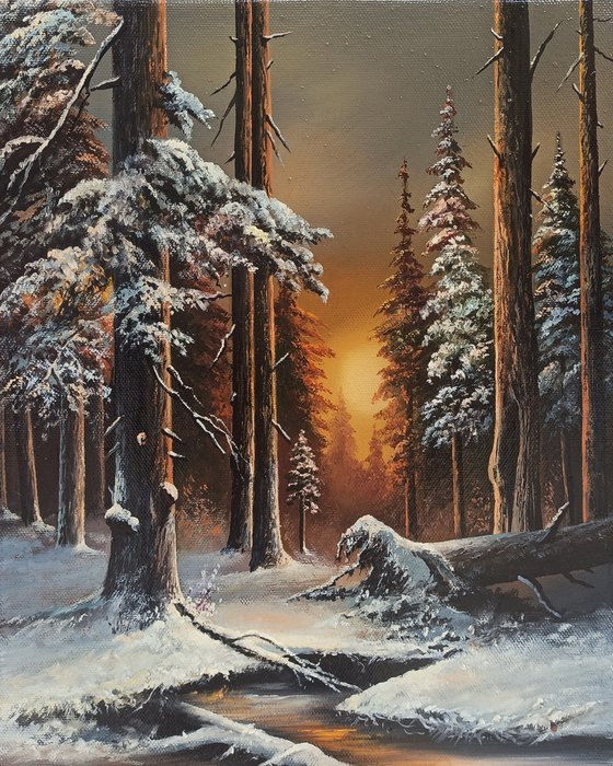 Winter in a forest  (24x30cm, oil painting, ready to hang)