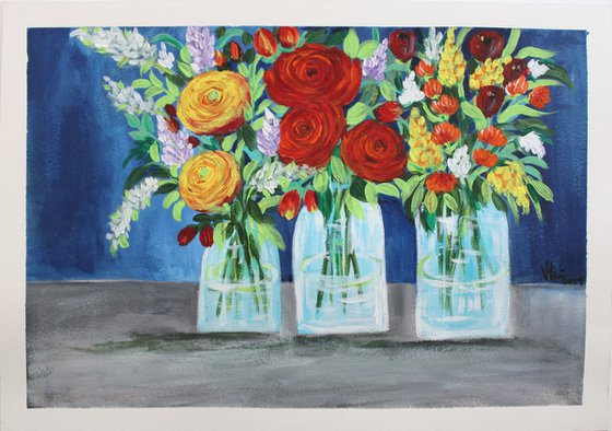Still Life Florals - Happiness - Colourful floral bouquet in vases- Acrylic painting of flowers