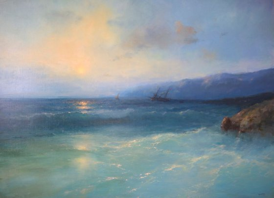 Ocean in Cobalt, Seascape Original oil Painting, Handmade artwork, Museum Quality, Signed, One of a Kind