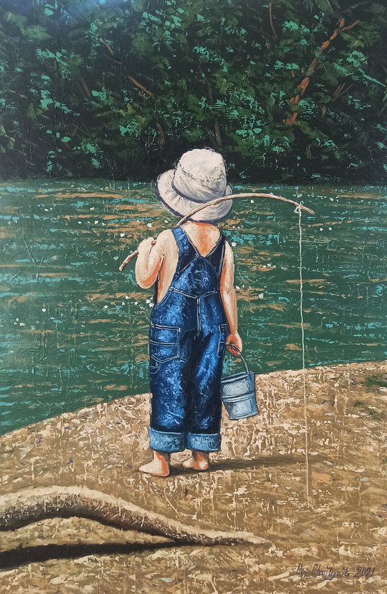 Little fisherman (40x60cm, oil painting, ready to hang)