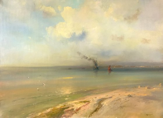 Seascape, Original oil Painting, Handmade artwork, Museum Quality, Signed, One of a Kind