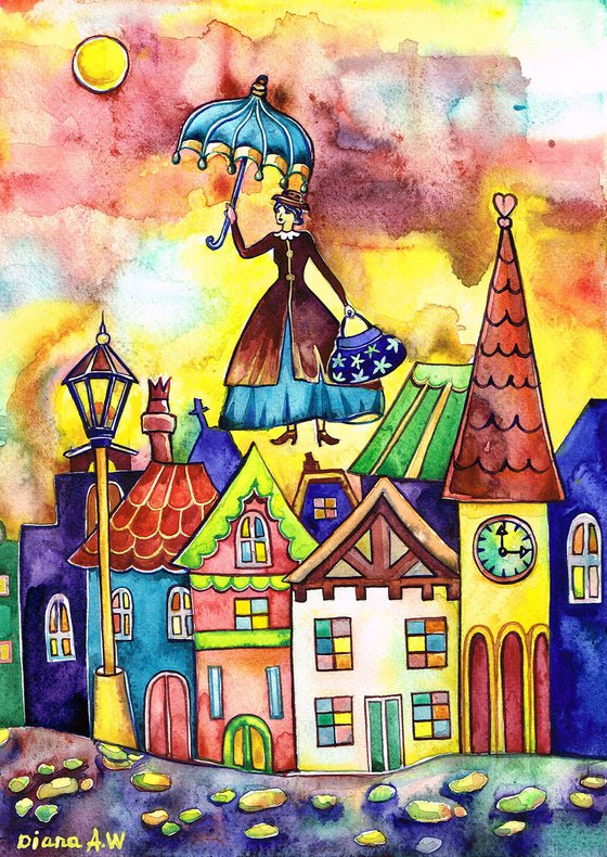 MARY POPPINS ORIGINAL PAINTING, FANTASY, GIFT IDEA. COLOURFUL HOUSES, LONDON, COLOURFUL LONDON, LANDSCAPE, ABOVE THE CITY 5