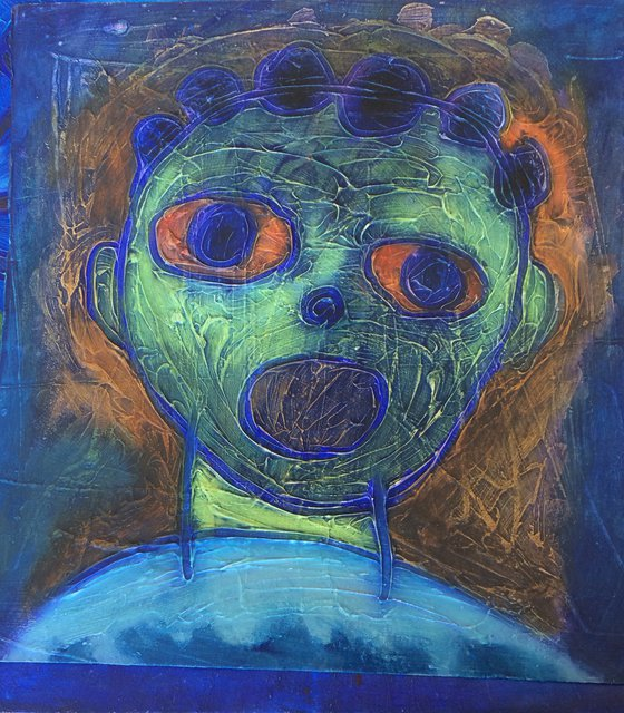 Face in blue and green