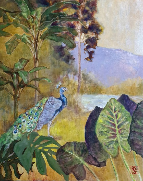 Landscape with Peacock