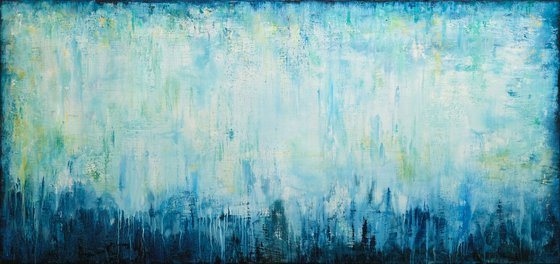 """150x70 cm - 59""""x28"""", FANTASIA, Large original modern abstract painting, Ready to hang"""