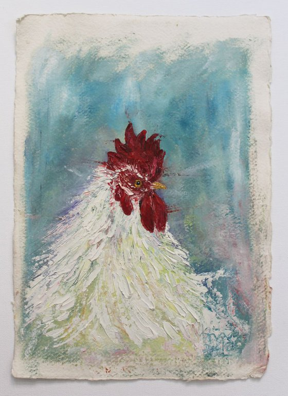 White Rooster - Cock Oil painting on Khadi Handmade deckled edged paper - bird art - Easter - special cockerel