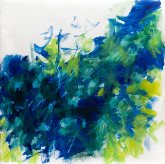 Abstract tall grasses 2 in green and blue - READY TO HANG
