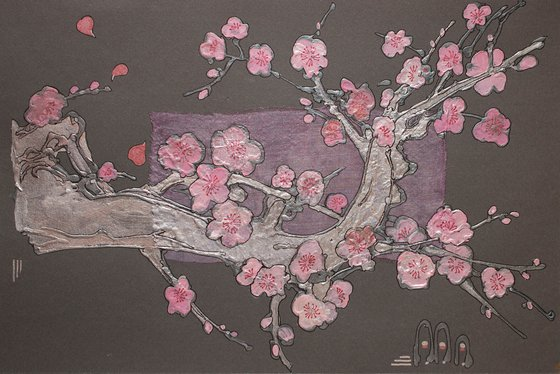 Silver sakura branch with pink blossoms on a grey sky