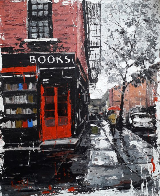 Rain in the city. Rainy street. Original painting