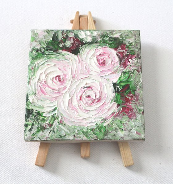 Roses - Pinkish white roses - Palette knife - textured oil painting on mini canvas and easel - gift art