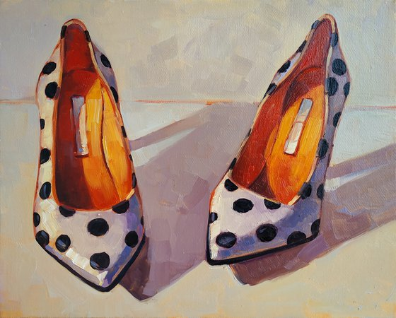 Retro pictures series -6  Old Shoes(24x30cm, oil painting, ready to hang)